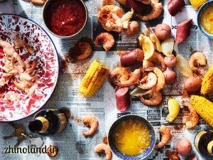 خوراک میگو با رب گوجه