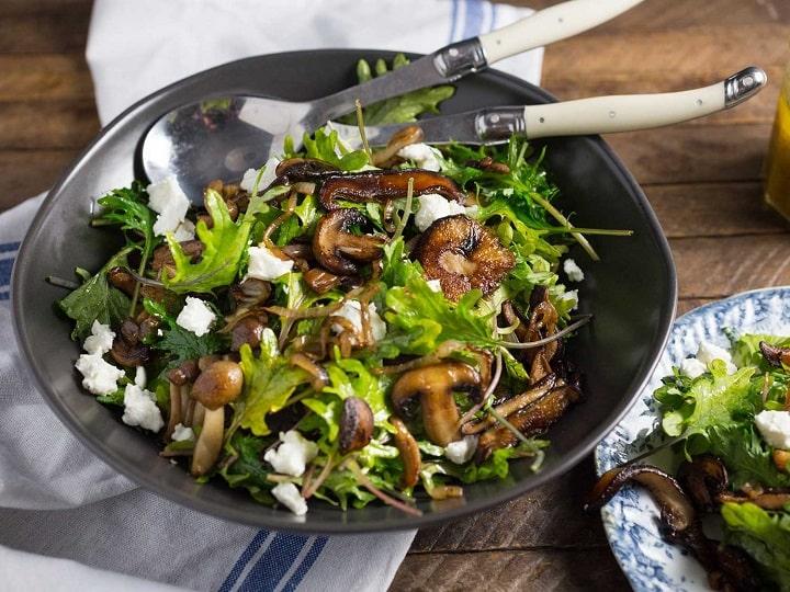 سالاد قارچ و سبزیجات