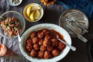 کوفته گوشت با سالاد شیرازی