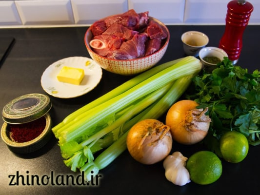 مواد لازم و سبزی خورشت کرفس