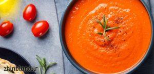 سوپ گوجه فرنگی با برنج