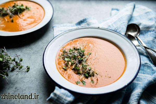 سوپ گوجه فرنگی و سبزیجات